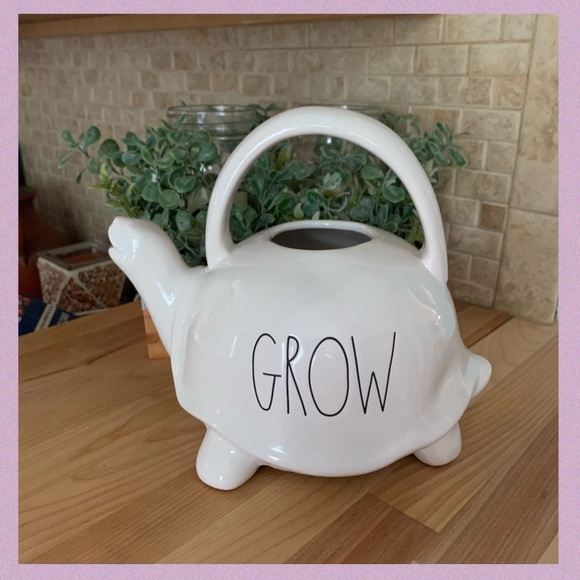 """RAE DUNN CERAMIC TURTLE WATERING CANISTER """"GROW"""""""